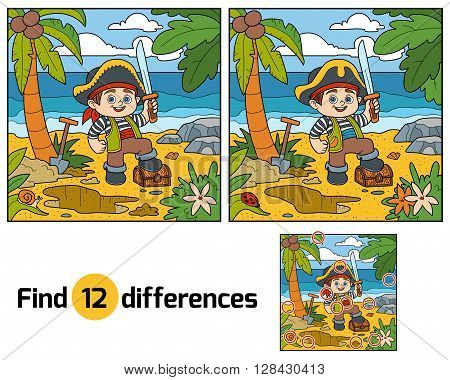 Find Differences For Children. Pirate And Treasure Chest On A Tropical Island
