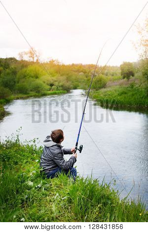 Fishing with a fishing rod on the river
