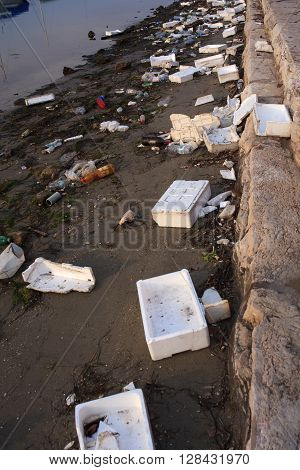 CHIOGGIA ITALY - DECEMBER 31: View of domestic garbage next to the sea on December 31 2015