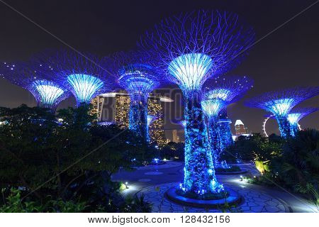 Singapore, Singapore - January 14, 2016: Supertree grove and Marina Bay Sands at night in Gardens by the Bay. Supertrees are tree-like structures that dominate the Gardens landscape. Gardens by the Bay is a park in central Singapore.