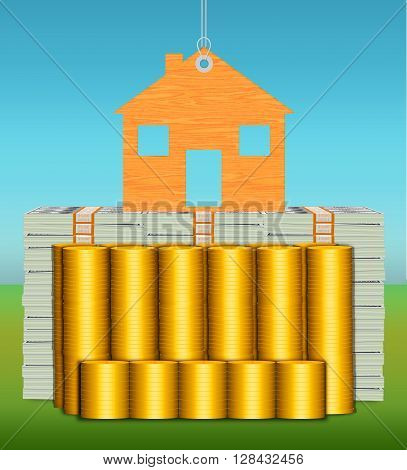 An illustration of a house on hang tag resting on stacks of cash and gold