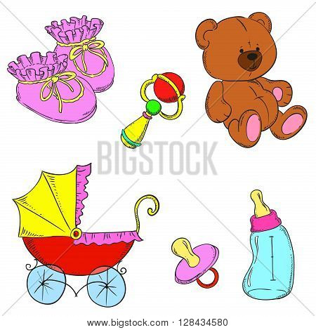 Children set vector. Booties, toys, rattle, stroller, bottle, nipple