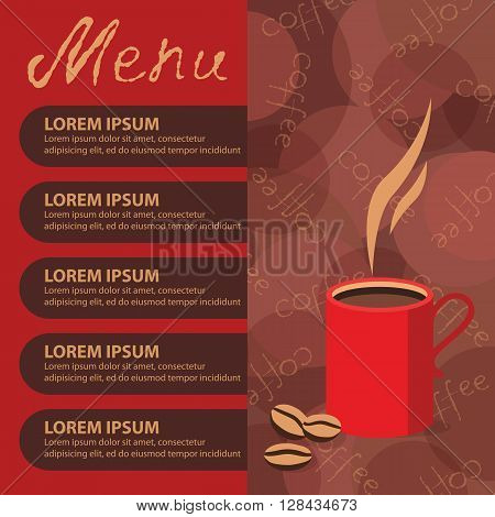 Vector drawing of a hot Cup of coffee procurement for printed materials brochure, leaflet, flyer corporate style cafe and restaurant