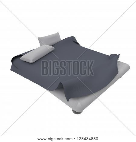 Unmade Bed, Isolated Over White