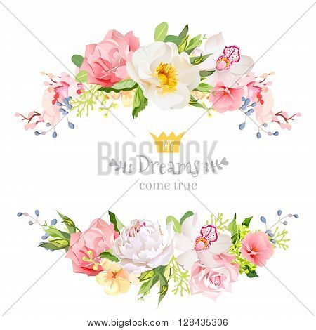 Lovely wishes floral vector design frame. Wild rose peony orchid hydrangea pink and yellow flowers. Floral banner stripe elements.