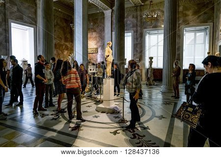 17 April 2016. Saint-Petersburg.A statue of Kore from the Athenian Acropolis at the state Hermitage Museum in Saint Petersburg.Russia.
