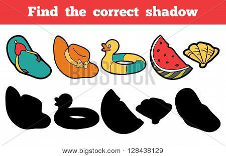 Find The Correct Shadow. Colorful Set Of Objects For A Summer Holiday