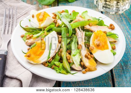 Salad With Chicken, Lentils And Green Beans