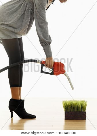 Woman holding gasoline pump nozzle over green grass.