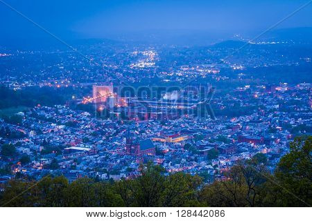 View Of Reading At Night From The Pagoda On Skyline Drive, In Reading, Pennsylvania.