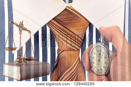 Scales of justice on the book stopwatch and Blue and white cotton shirt .Lawyer working against time. Business metaphor