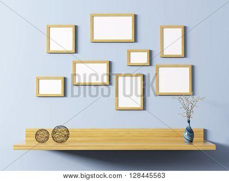 Wooden Frames Above Shelf 3D Rendering