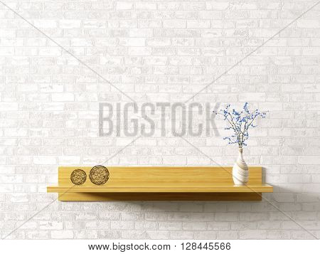 Wooden Shelf Over Brick Wall Interior Background 3D Rendering