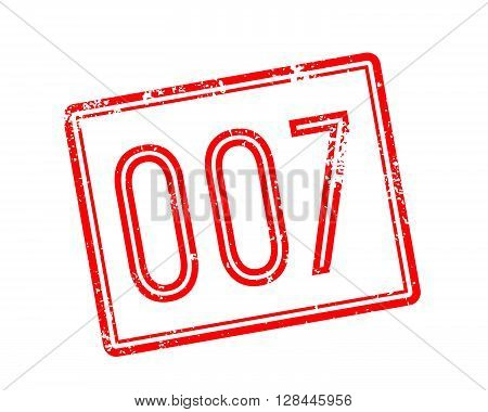 007 Red Rubber Stamp On White