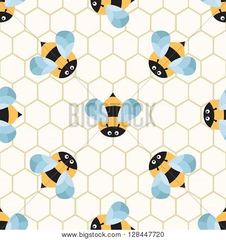 Bees on a honeycomb. Cute seamless pattern