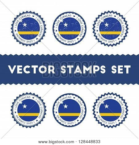 I Love Curacao Vector Stamps Set. Retro Patriotic Country Flag Badges. National Flags Vintage Round