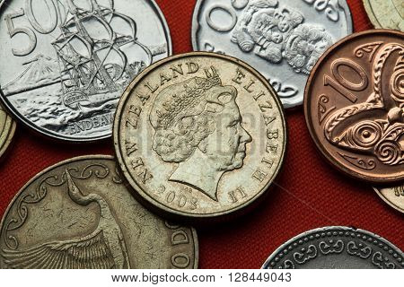 Coins of New Zealand. Queen Elizabeth II depicted in the New Zealand one dollar coin.