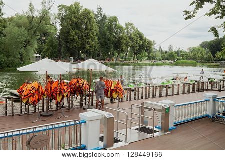 MOSCOW, RUSSIA - JUN 29, 2015: Water bike rental station on Golitsyn pond in the Gorky park.