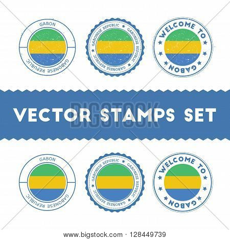 Gabonese Flag Rubber Stamps Set. National Flags Grunge Stamps. Country Round Badges Collection.