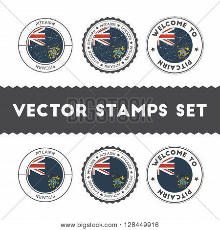 Pitcairn Islander Flag Rubber Stamps Set. National Flags Grunge Stamps. Country Round Badges Collect