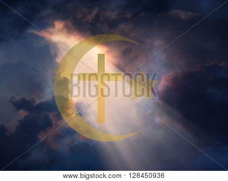 Star of David, Muslim Crescent and Cross 3D Render