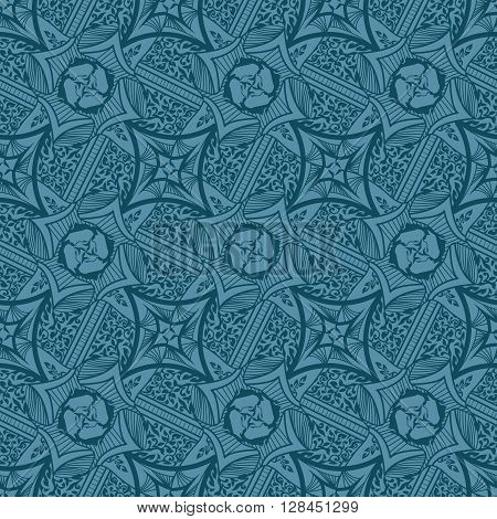 Abstract background seamless beautiful pattern. Tribal antique style. Elegant design in jeans colors