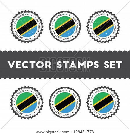 I Love Tanzania, United Republic Of Vector Stamps Set. Retro Patriotic Country Flag Badges. National