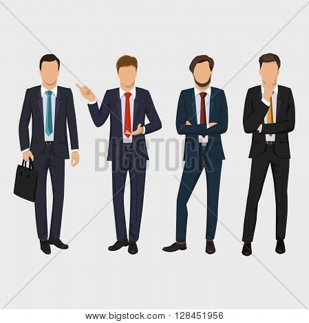 Businessman, elegant young man in business suit. Collection of full length portraits of business people. Isolated on white background. Business meeting concept. Flat design.  Vector illustration