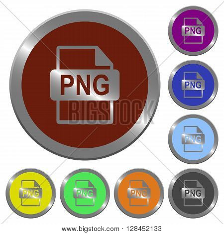 Set of color glossy coin-like PNG file format buttons.