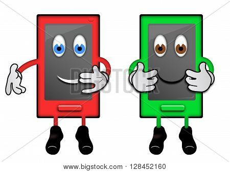 Illustration of two smartphone characters with human features