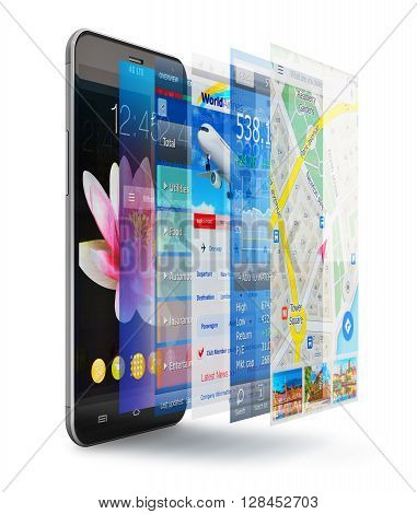 Creative abstract mobility wireless communication and app development and downloading internet web business concept: 3D render illustration of modern metal black glossy touchscreen smartphone or mobile phone