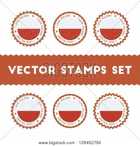 I Love Poland Vector Stamps Set. Retro Patriotic Country Flag Badges. National Flags Vintage Round S