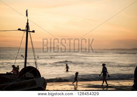 Summer Landscape Of Beach Shore With Fish Boat
