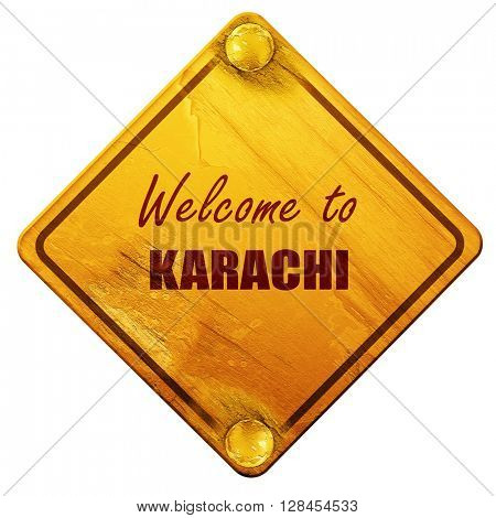 Welcome to karachi, 3D rendering, isolated grunge yellow road si