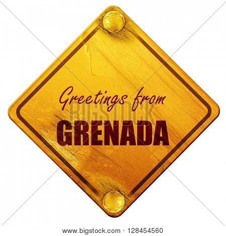 Greetings from grenada, 3D rendering, isolated grunge yellow roa