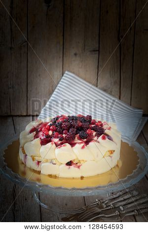 Berries Cake On Cake Stand