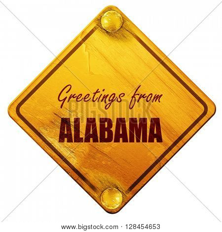 Greetings from alabama, 3D rendering, isolated grunge yellow roa