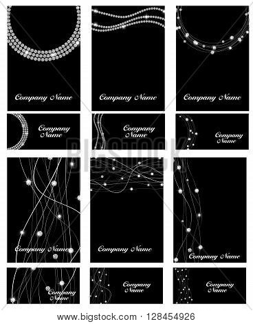 Abstract Luxury Black Diamond Business Card Set Templates Vector Illustration EPS10