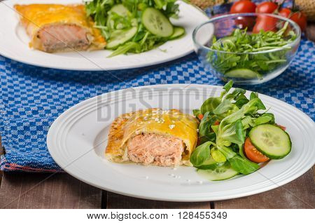 Salmon Baked In Puff Pastry