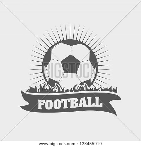 Football Or Soccer Emblem, Logo Or Label Design Template With Ball On Grass