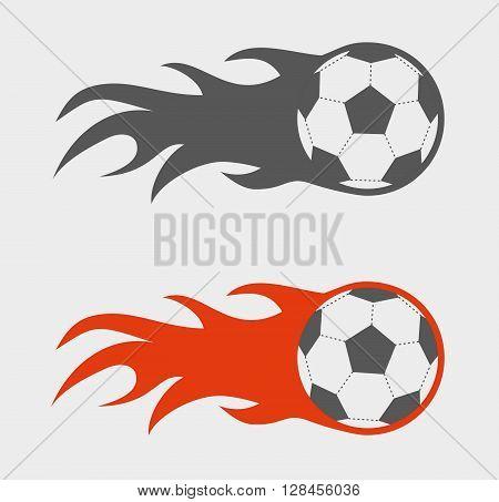 Vector Set Of Soccer Balls On Fire.
