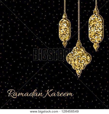 Ramadan Kareem greeting card with glitter Moroccan lamps. Elegant festive background. Vector illustration with Arabic pantern. Holy month Ramadan Kareem or Ramazan Kareem.
