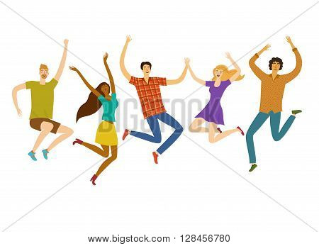 group five happy friends boys vector & photo | bigstock