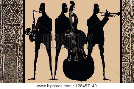 Jazz band in ethnic style design - Vector Illustration