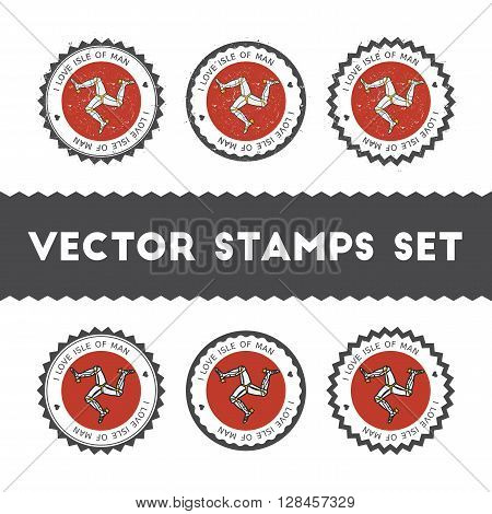 I Love Isle Of Man Vector Stamps Set. Retro Patriotic Country Flag Badges. National Flags Vintage Ro