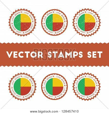 I Love Benin Vector Stamps Set. Retro Patriotic Country Flag Badges. National Flags Vintage Round Si