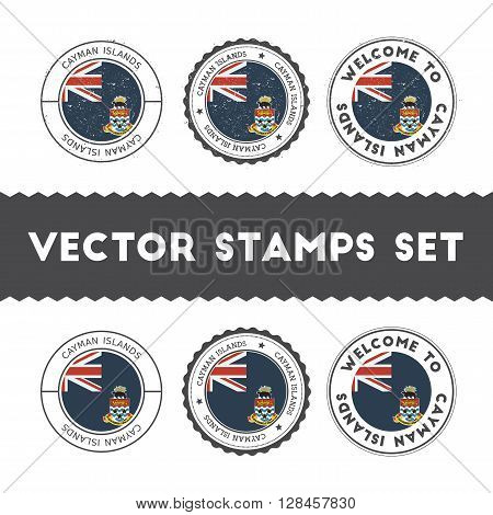 Caymanian Flag Rubber Stamps Set. National Flags Grunge Stamps. Country Round Badges Collection.