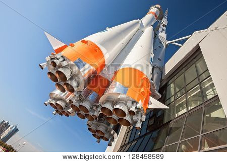 SAMARA RUSSIA - APRIL 20 2016: Russian space transport rocket with rocket engines against the blue sky