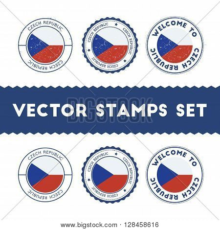 Czech Flag Rubber Stamps Set. National Flags Grunge Stamps. Country Round Badges Collection.
