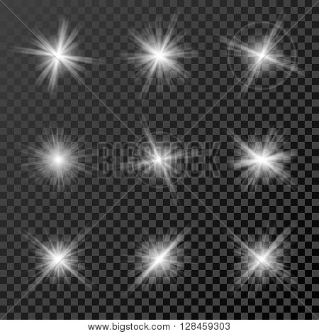 Set of glowing lights, stars and sparkles isolated on black transparent background. Vector illustration